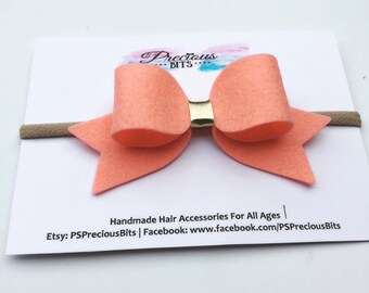 Large Peach and Gold Bow Headband - Newborn headband, Toddler Felt headband, Girls Felt Headband, Baby Headband, Christmas Felt Headband