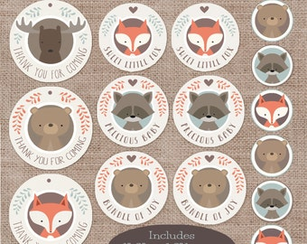 Baby Shower Favors and Decorations, Woodland Animal Circle Buttons