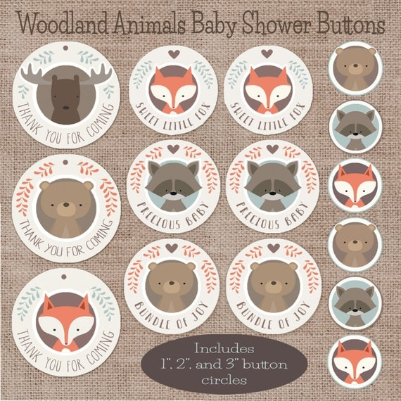 baby shower favors and decorations woodland animal circle buttons