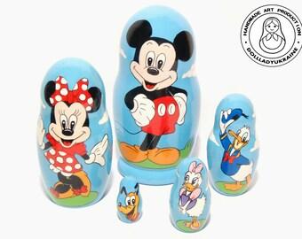 Mickey Mouse Nesting Dolls 11 cm, Kids Gift, Matryoshka Doll 5pcs, Funny Gifts, Kids Room Decor, Mickey Minnie Donald Daisy Pluto, Disney