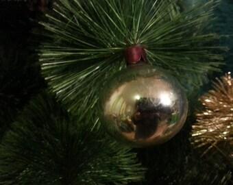 Vintage Christmas tree ornament USSR. Glass silver ball