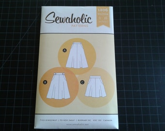 Skirt Pattern, Hollyburn, Sewaholic, Flared, waistband, Pockets, belt loops, sewing pattern, pear shape figure, beginner level