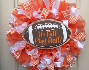 Football Wreath, Fall Wreath, It's Fall Play Ball Wreath, Tennessee Vols Wreath, UT Vols Deco Mesh Wreath, TN Mesh Wreath