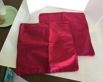 """Rasberry pink 100% silk pillow covers 16""""X16"""" square, Free Shipping!"""