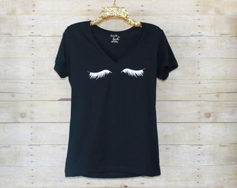 Deep V neck Lash Tee, Lash Shirt