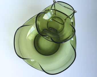 Avacado green glass Chip and Dip set, 2 chip bowls, made by Anchor Hocking