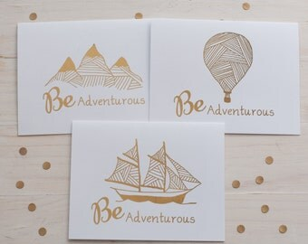 Be Adventurous Gold Foil Card Set, Gold Foil - Hot Air Balloon Card - Mountain Card- Ship Card - Notecard - Friendship Card - All Occasion