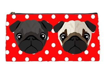 Black & Fawn Pug Pencil Case / Cosmetic Bag (Red)