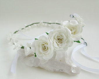 Bridal tiara White rose Wedding hair white Flower for hair Wedding flowers hair White wedding flower Rustic wedding tiara Flower accessories