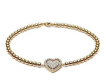 Limited sparkle heart • gold • ball bracelet