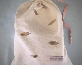 Natural Hemp & Organic Cotton Embroidered Shoe Bag