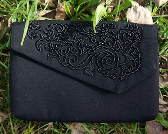 Bead embroided clutch bag
