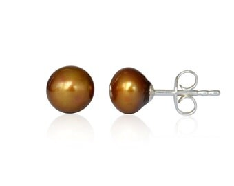 Natural cultured freshwater pearl earrings, coffee color, 6.5-7mm, 925 silver