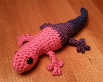 Bi Pride Gecko Amigurumi Crochet Toy