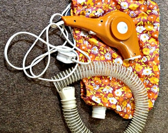 Vintage hair dryer with hood, 1960s hooded hairdryer, 1960s hairdryer, Funky flower hairdryer, 1960s hand held hairdryer
