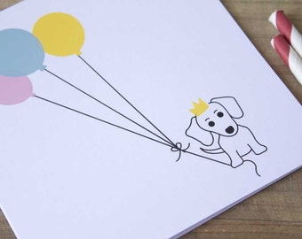 Cute Dog Print Birthday Card, Sausage Dog with Balloons Screen Print, Birthday Screen Print Card, Cute Birthday Card, Birthday Card