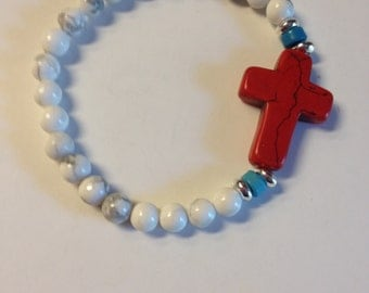 Simple, Stretch Bracelet, Red, White and Blue, Cross