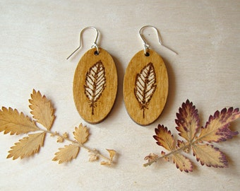 wooden earrings, wood earrings, feather earrings, boho earrings, woodburned earrings, plywood earrings, pyrography earrings, unique earrings
