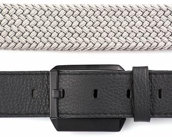 Leather Belt, Mens Leather Belt, Womens Leather Belt, Genuine Leather Belt, Elastic Webbing Belt, Black Leather Belt, Grey Mens Belt