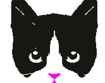Tuxedo cat face digital file download for embroidery machines
