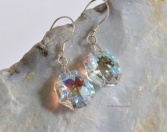 Octagon Swarovski Earrings, Crystal Jewellery, Spectra AB Clear earrings, Dangly earrings, Earring Gift Idea,A0257