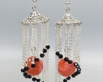 Placidity Chandelier Earrings, swirling tassels statement earrings, crystal earrings, statement dangling earrings