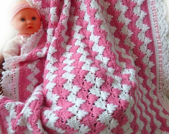 Baby Girl Pink And White Textured Blanket Handmade Gifts Baby Quilt Crochet Baby Blanket Baby Girl Gifts Hand Knitted Wool Baby Blanket