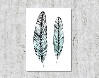 Feather Wall Art Blue Decor Feather Illustration Feather Print Nursery Wall Art Feather Drawing Blue Wall Art