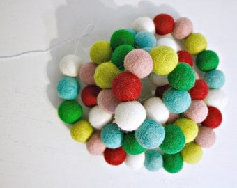 Colorful Pom Pom Garland - Felt Ball Garland - Holiday Mantle Decor - Colorful Christmas Garland - Holiday Garland - Jingle Bells