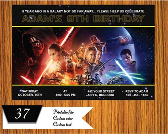 Star Wars Invitation, Star Wars Birthday Invitation, Star Wars Invite, Star Wars Birthday Invite, Star Wars Party  FREE card THANK YOU | M37