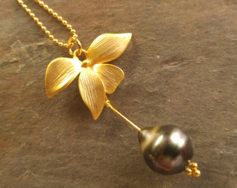 Gold Orchid Tahitian Pearl Necklace