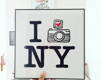 NY Inspired Wordart Framed Art Poster