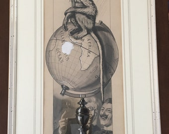 """Original antique drawing by Theodor Grätz, XIX Century, signed, framed,  """"The smart monkey"""", Germany, published"""