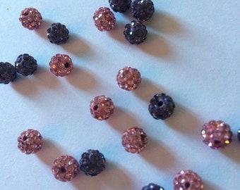Disco ball beads, pink and purple beads, 6mm disco ball beads