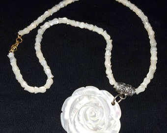 Mother of Pearl Tulip and Rose Necklace