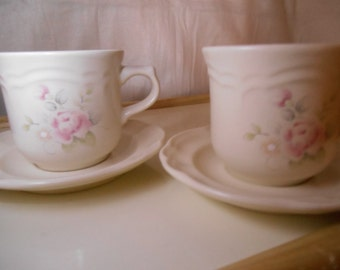 2 Set ~ PFALTZGRAFF Tea Rose Tea Cups / Coffee Cups / Coffee Mugs with Saucers Made In USA