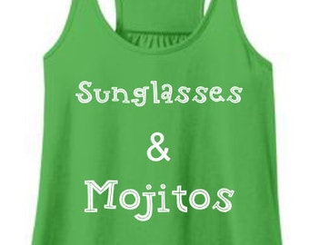 Sunglasses & Mojitos-Women's Green Flowy Tank