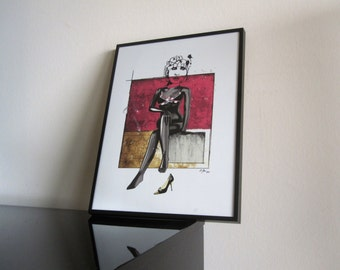 Moschino - Modern Art - Fashion - Shoes - Bikini - signed - Tanning - limited - ArtWork - Marsala Pantone Color -