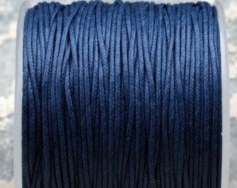 Yards de cordon 100 macramé cordon en coton ciré bleu marine (1mm) S 40 039