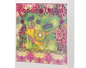 BLANK CARD 'Enjoy the Journey' ~ mixed media artwork by Amanda Stelcova