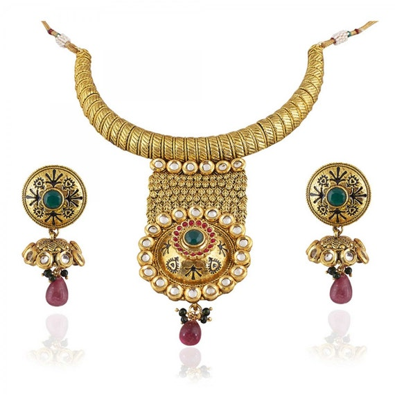 Indian Gold Plated Stones Kundan Necklace Earrings Party: Indian Pakistani Jewellery Gold Plated Kundan By StyleGifted