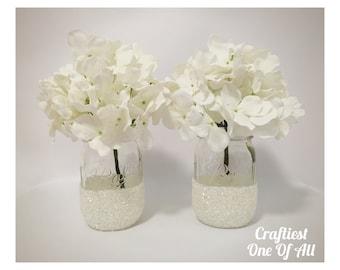 Set of two white glitter mason jars, snow, white glitter, glitter decor, white decor, flower vase, wedding decor, home decor, party decor