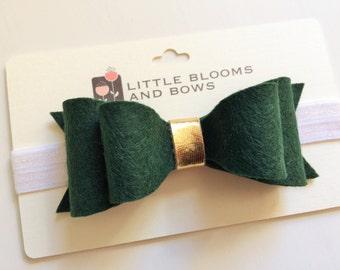 Felt bow headband - alligator clip - evergreen double bow with metallic gold center - christmas holiday