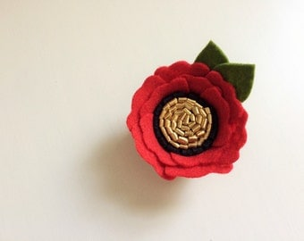 Red poppy with black and gold center - alligator clip - headband