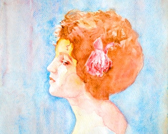 "Watercolor Portrait ""Reverie"" 8x10 Fine Art Giclee Print"