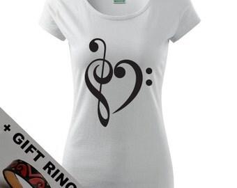 Women's Treble Clef shirt,+gift ring, in many colors, Eco-friendly printed,Yoga shirt, Music, Love, Like, Cute, Heart  XS, S, M, L, XL, XXL