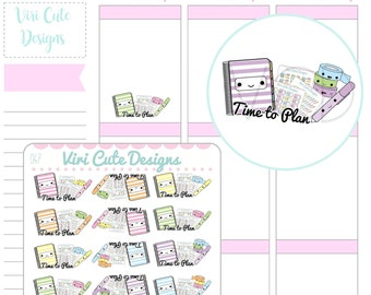 Kawaii Planning Time Stickers, Time to Plan, Planner Stickers, Planning Stickers, Planning ...