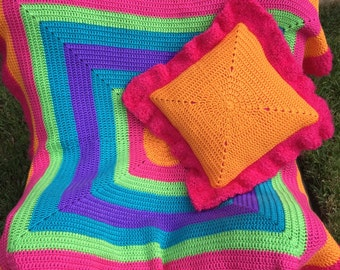 Bright, colorful blanket w/matching pillow