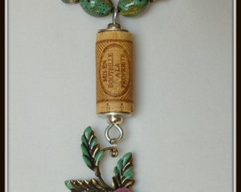Patina Wine Cork Necklace with Pink Rose