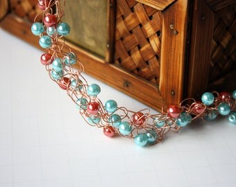 Coral and Teal Pearl Wire Crocheted Necklace, Beaded Necklace, Pearl Necklace, Crocheted Necklace